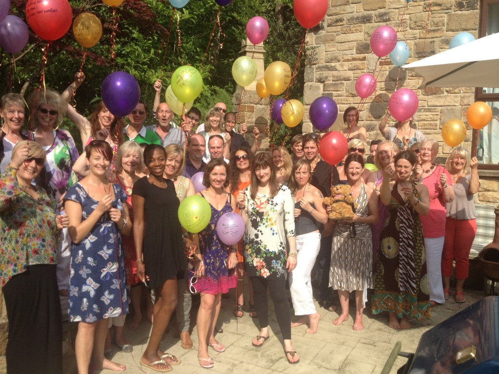 Some of the members of the Lucky Prosperity Spiral release Lucky 'Intention' Balloons at the Summer BBQ at my home on 7 July 2013